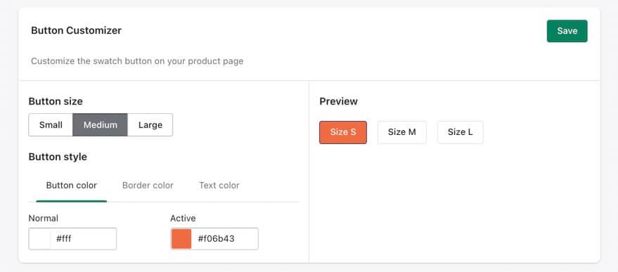 Variant button swatch customizer
