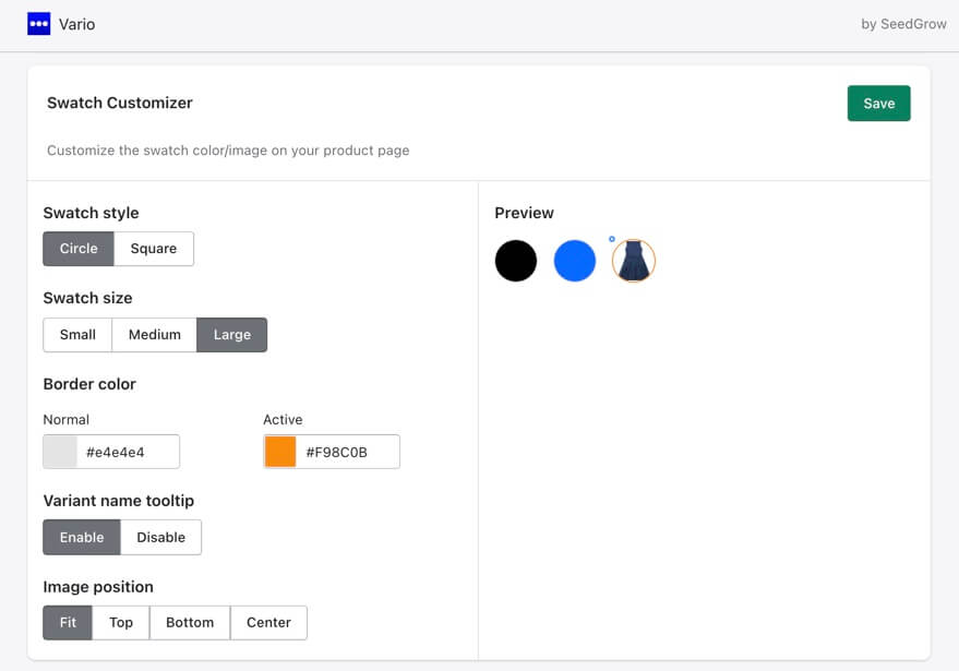 Vario app with Shopify product variant swatch customizer